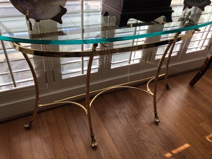 Glass and brass Demi console table $140