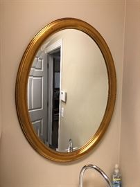 Gold frame oval mirror $30