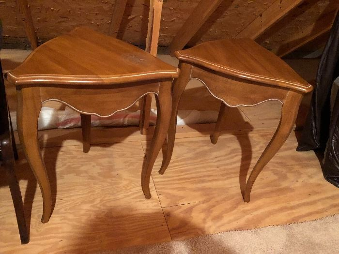 Pair of wooden triangular side tables $75