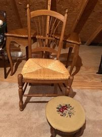 Rush bottom chair $20 and needlepoint footstool $20