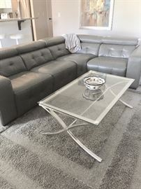 """Fabulous leather sectional with electric lounge chair end.  115 x 87 x 45"""""""