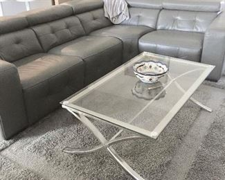 "Fabulous leather sectional with electric lounge chair end.  115 x 87 x 45"" (Sectional & rug SOLD)"