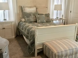 Gorgeous carved oak bed (full) with coordinating side tables and lamps.  Striped ottoman.