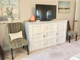 """Pair of two striped side chairs; 42"""" Visio Flat Screen TV"""