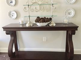 """Lovely entry or library table with mahogany finish.       58 x 43 x 14"""""""