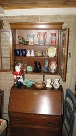Roseville , Hobnail , Fostoria , Wedgewood , Fenton and more. Nice secretary desk, detached top.