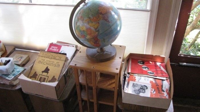 Vintage globe , TONS of sheet music.