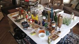 Tables full of collectibles ! MCM glass sets , salt & pepper shakers , ash trays and more.