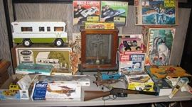 Tons of vintage toys, from rough in the sandbox to clean gently played with. Not all games,  models are complete. Tonka , G.I Joe , Battery operated, Mattel toy machine gun, Cox gas planes and more.