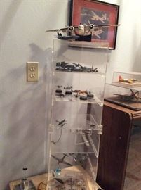 Model airplanes and display cases