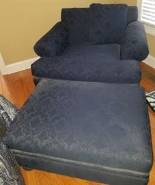 Beautiful navy chair and matching ottoman