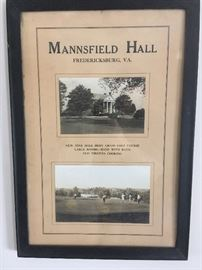 Antique Framed Pictures of Mannsfield Hall, Fredericksburg, Va.
