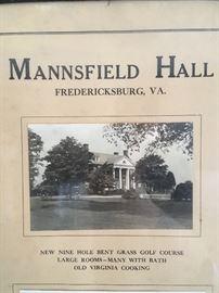 Antique Framed Picture of Mannsfield Hall, Fredericksburg, Va.