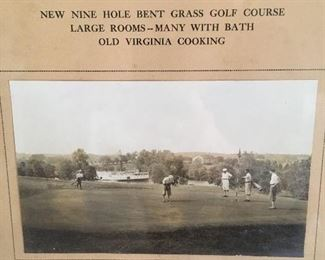 Antique Framed Picture of Mannsfield Hall, Golf Course, Steamboat,Fredericksburg, Va.