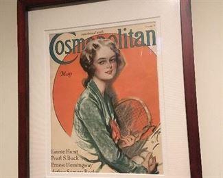 Antique Framed Harrison Fisher Cover of Cosmopolitan.