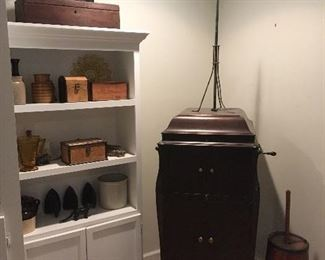 Antique Butter Churn, Antique Victrola, Antique Boxes & Crocks, Antique Lighting Rod, Antique Scale with Original Box.