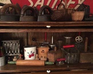 Antique Cast Iron Sad Irons, Antique Kitchenwares. Butter Molds, Antique Toaster, Antique Coffee Grinder,Antique Butter Molds,etc...