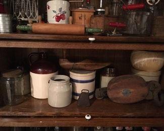 Antique Block & Tackle, Antique wooden shoe molds, Antique Jars,Antique Crocks, Antique Bells.