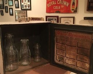 Antique Painted Metal Farmers Creamery Milk Box with Bottles & Original Advertising Sign!