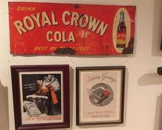 Antique Tin Royal Crown Cola Sign, Framed Phillip Morris Framed Ads.