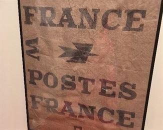 Antique Framed France Postal Bag.