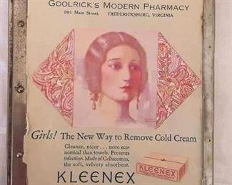 Early 1900's Metal Frame for Goolrick's Modern Pharmacy Menu , Fredericksburg, Va.