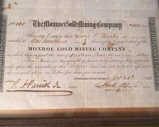 Monroe  Gold Mining Company Stock , 1850. Fredericksburg, Va, (Stafford)
