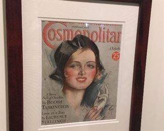 Framed Harrison Fisher Cosmopolitan Cover.