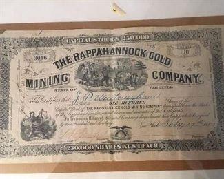 1887 The Rappahannock Gold Mining Company Stock, Fredericksburg, Va,