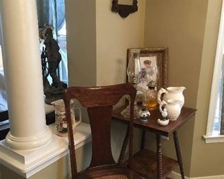 1 of 6 Antique Cane Bottom Chairs.Antique Table & Mirror.