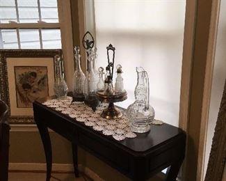 Side Table, Antique Glassware.