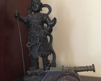 Wooden Cannon, Bronze Figurine.