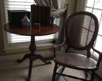 Antique Table & Cane Rocker,Books.