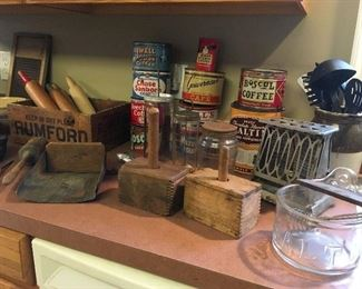 Antique & Vintage Kitchen Items. Butter Molds, Coffee Tins Toaster,etc...