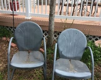 Pair Antique Metal Chairs