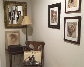 Mirror, Chair,Table,Prints,Lamp.