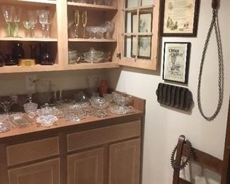 Antique Rug Beater, Cast Iron Cornbread Pan, Antique & Vintage Glassware & Stems.