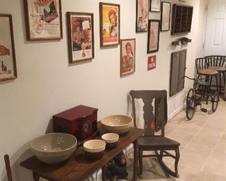 Antique Wooden Sewing Table, Crockery Bowls, Framed Advertising  Prints. Rocking Chair, Antique Tricycle.