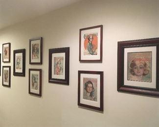 Framed Harrison Fisher Prints.