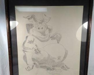 Pencil sketch pig
