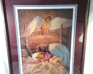 "framed David rottinghaus print , ""the kissing angel"""