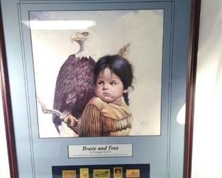 framed Gregory Perillo print. Brave and free with Native American stamp collection