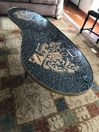 Unique kidney shape tile table (hand crafted)