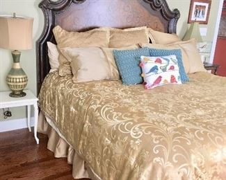King size headboard & linens (mattress & boxspring not included)