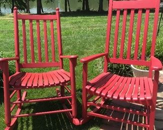Pair of red rocking chairs