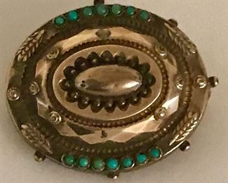 gold and turquoise antique pin