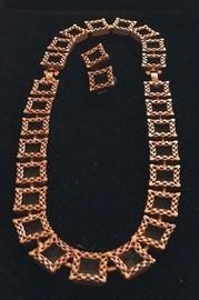 Large Renoir signed 50's Modernist copper necklace, earrings