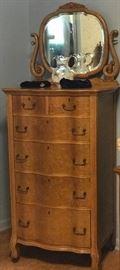 antique serpentine tall chest