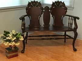Antique solid mahogany Victorian  carved claw foot settee Stickley and Brandt Chair co, Carved winged griffin and floral motif, Super piece.