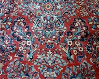 """Beautiful 100 year old hand knotted Persian Sarouk 9' x 15'9"""" rug in excellent condition, no moth damage."""